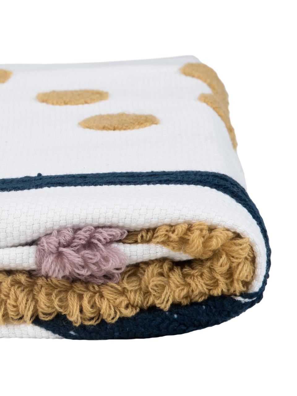 Baumwollplaid Pablo mit abstrakter Verzierung, 100% Baumwolle, Vorderseite: Mehrfarbig Rückseite: Weiß, 130 x 170 cm
