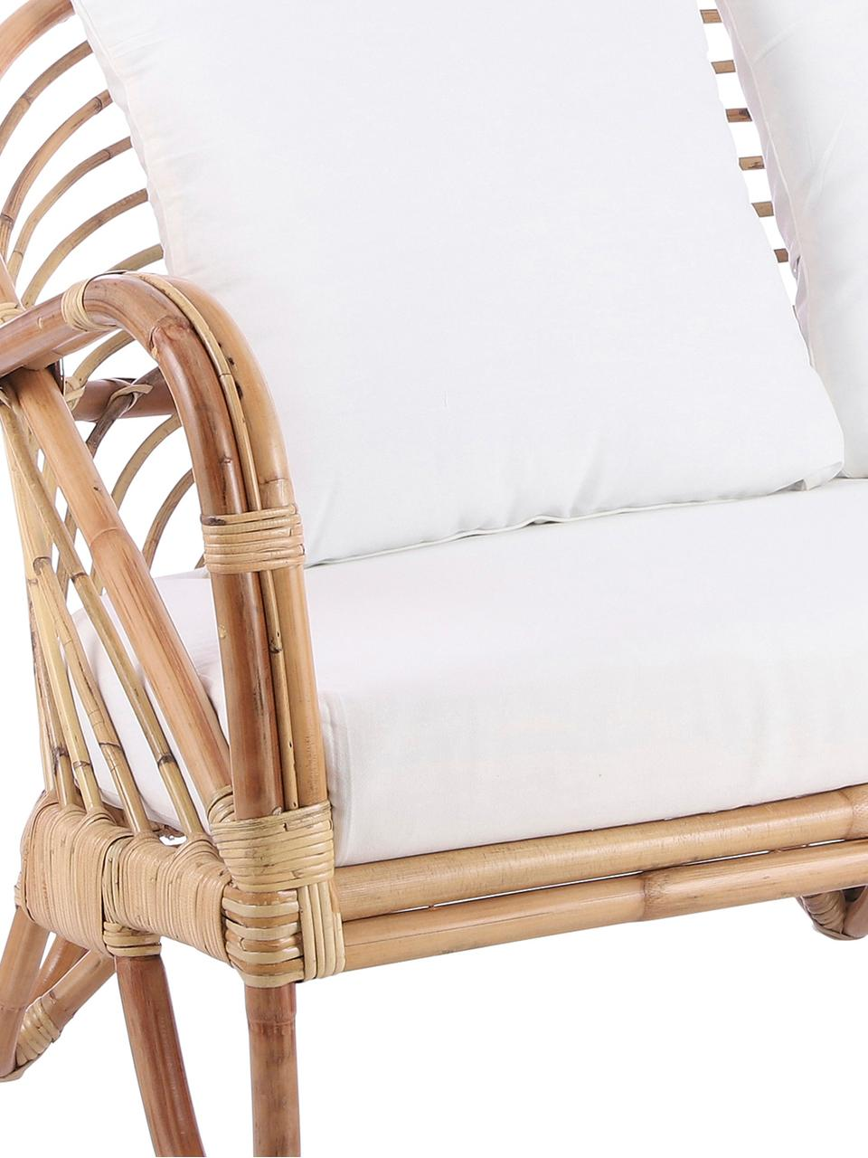 Rotan loungebank Rochester, Frame: rotan, Bekleding: polyester, Rotankleurig, wit, 140 x 80 cm
