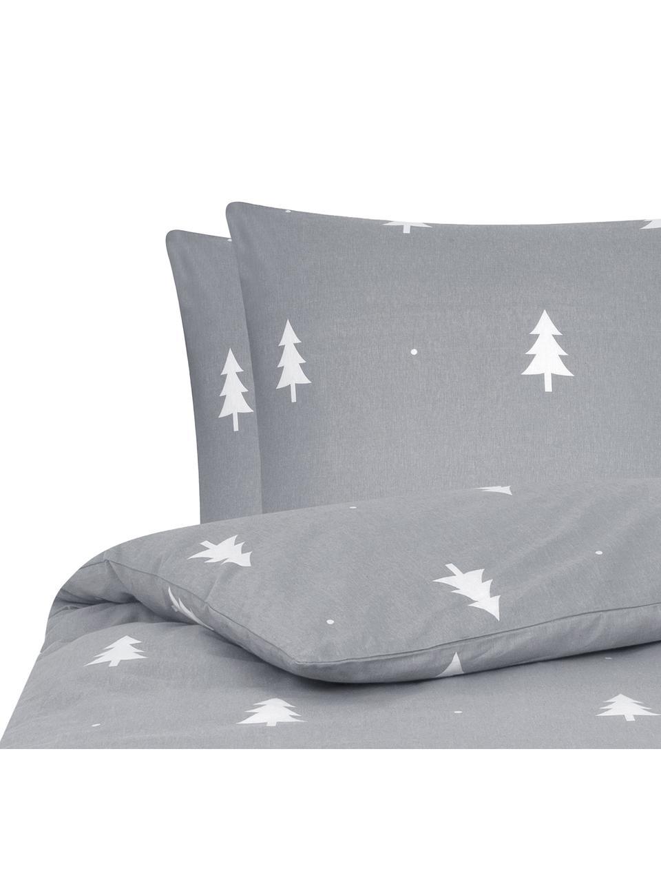 Pościel z flaneli X -mas Tree, Ciemny szary, kremowobiały, 240 x 220 cm + 2 poduszki 80 x 80 cm