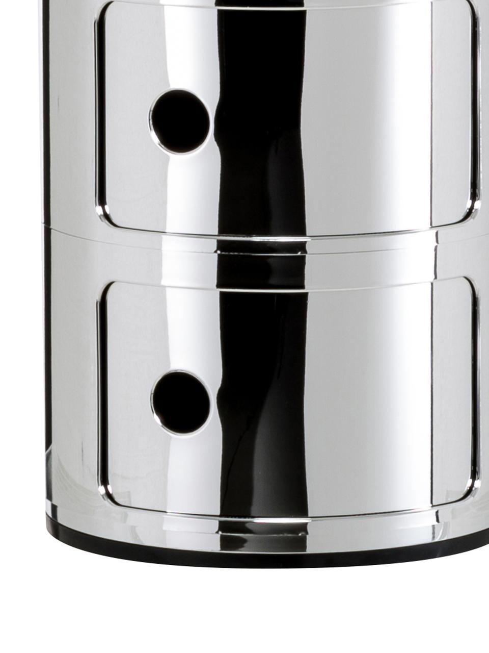 Design Container Componibili 3 Fächer, Kunststoff, metallicbeschichtet, Chrom, Ø 32 x H 59 cm