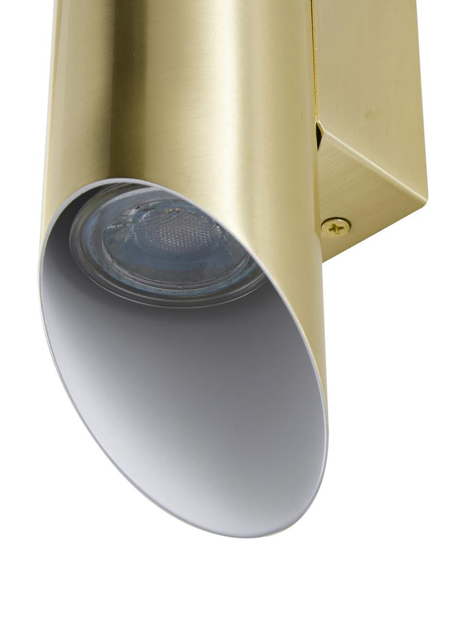 Applique dorata Renee, Paralume: metallo spazzolato, Dorato opaco, Larg. 7 x Alt. 28 cm
