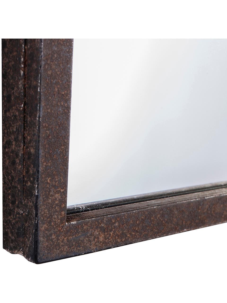 Metall-Wandspiegel Rockford, Rahmen: Metall, lackiert, Spiegelfläche: Spiegelglas, Schwarz, 91 x 76 cm