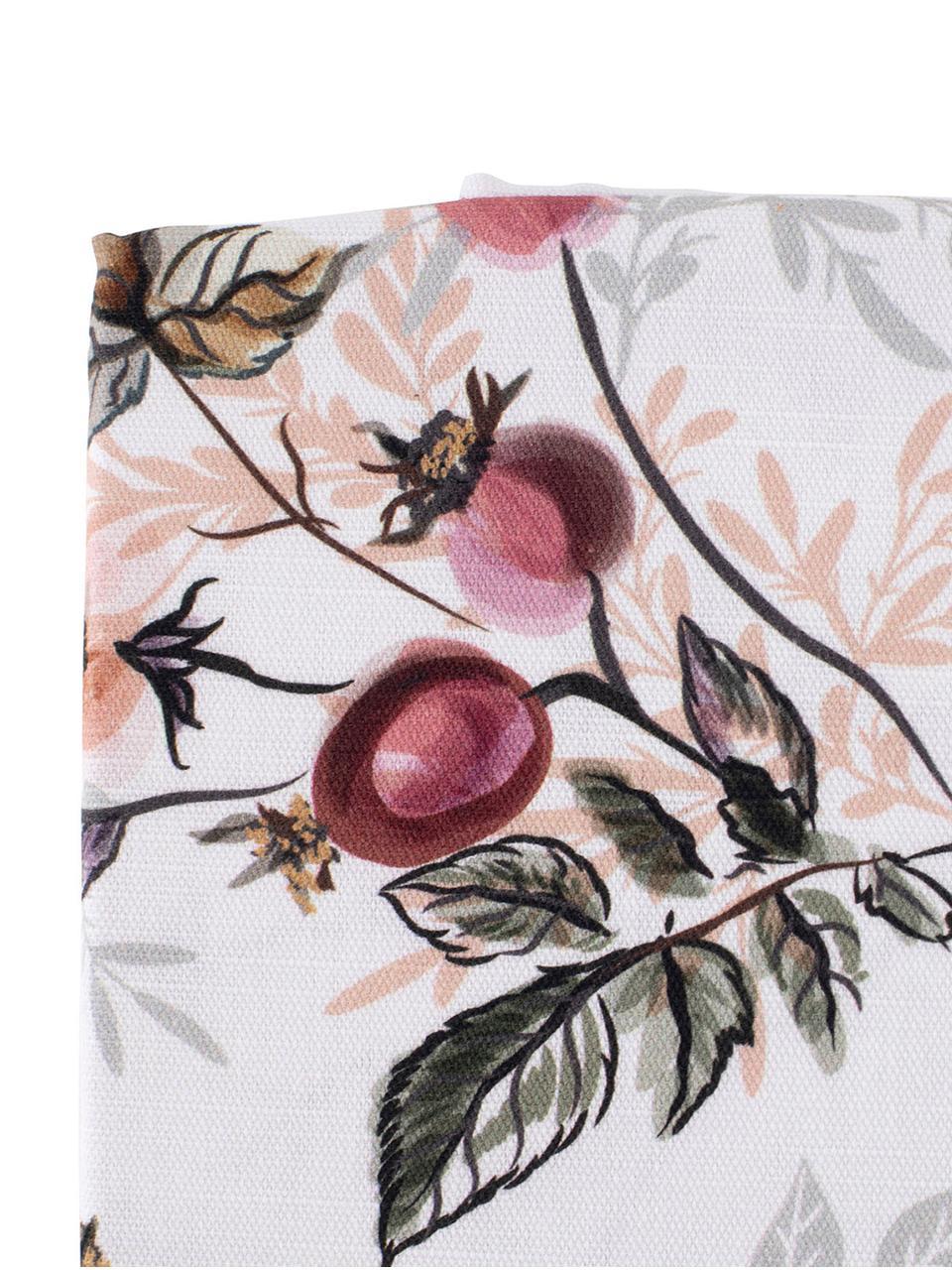 Tovaglia in cotone con motivo floreale Beas, Cotone, Rosa, bianco, Per 6-8 persone (Larg.160 x Lung. 260 cm)