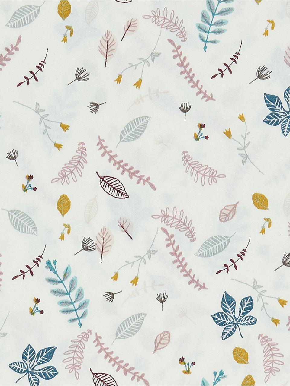 Baumwollsatin-Bettwäsche Pressed Leaves, Baumwollsatin, GOTS-zertifiziert, Creme, Rosa, Blau, Grau, Gelb, 100 x 135 cm