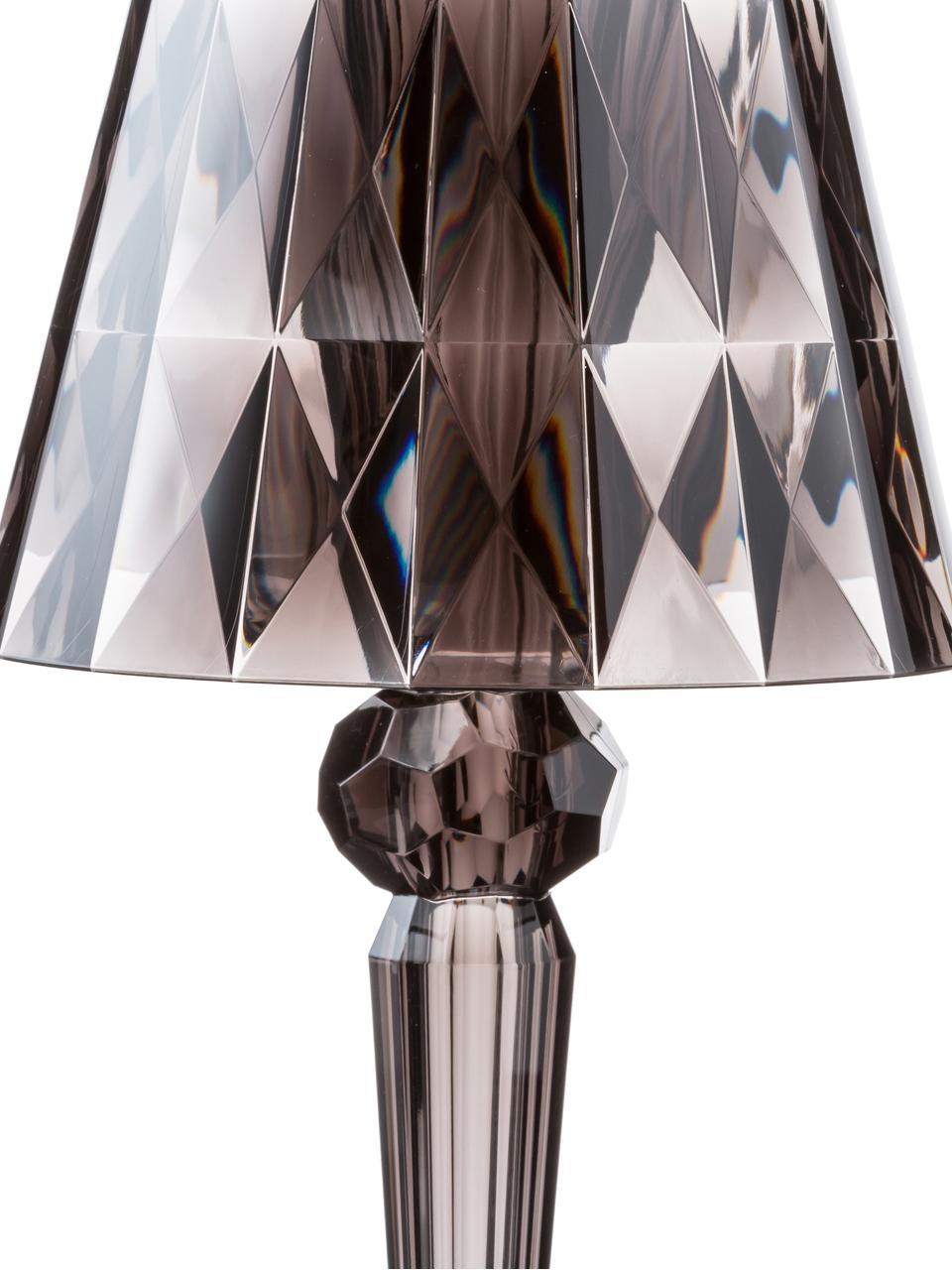 Malá designová stolní LED lampa Battery, Šedá, transparentní