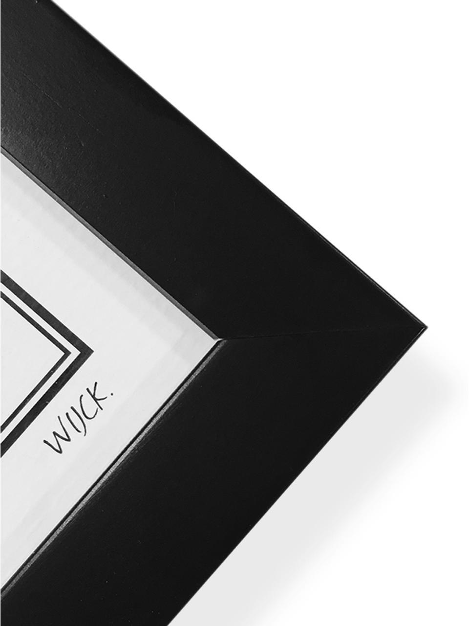 Impression numérique encadrée Amsterdam, Image: noir, blanc Cadre: noir, mat