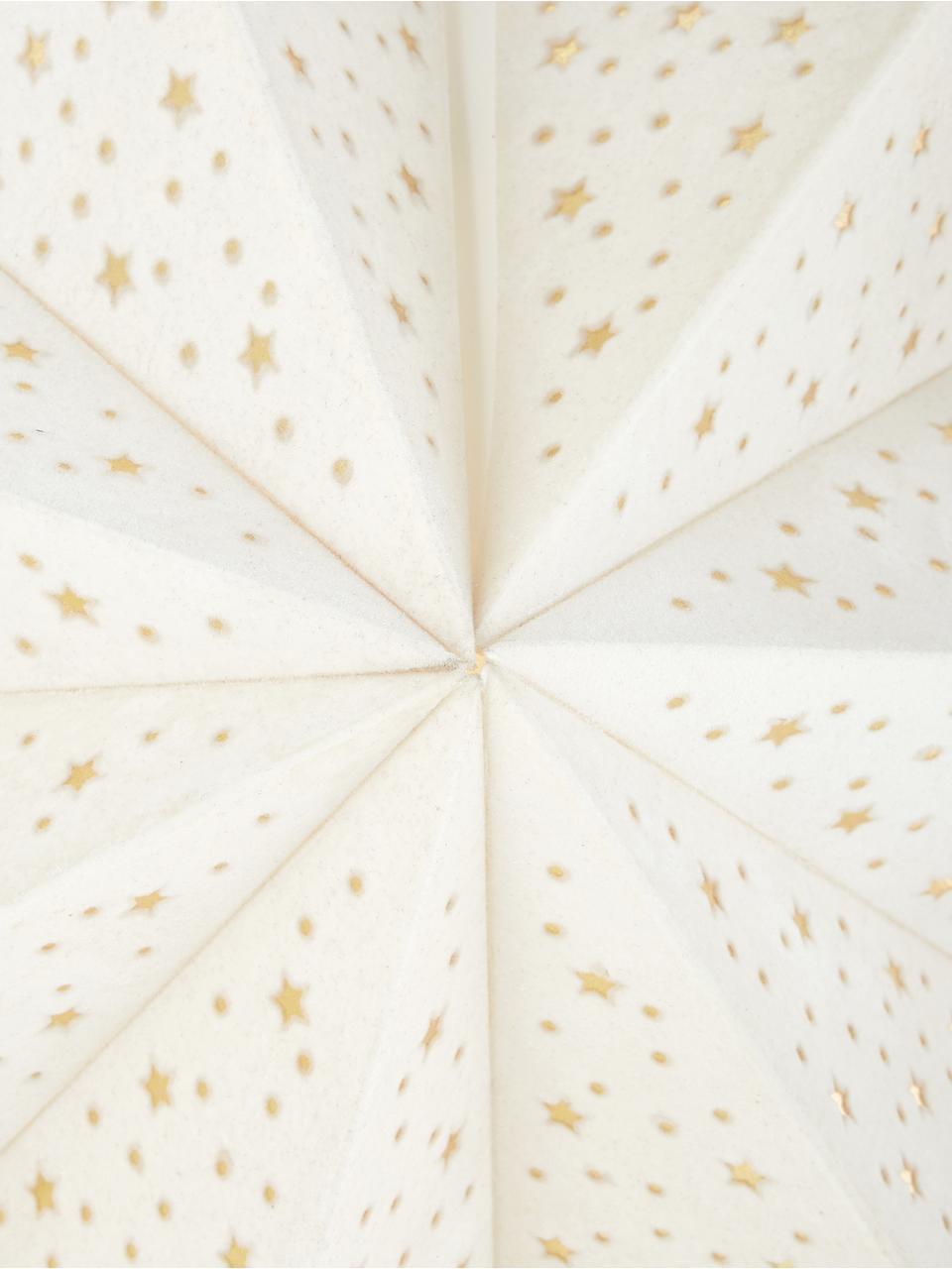 Samt-Weihnachtsstern Orby, Papier, Samt, Cremeweiß, Goldfarben, Ø 75 cm