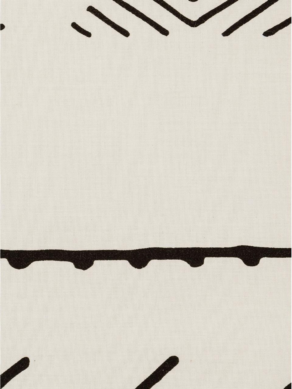 Gewaschene Baumwoll-Kissenbezüge Kohana im Boho Style, 2 Stück, Webart: Perkal Fadendichte 180 TC, Ecru, Schwarz, 40 x 80 cm