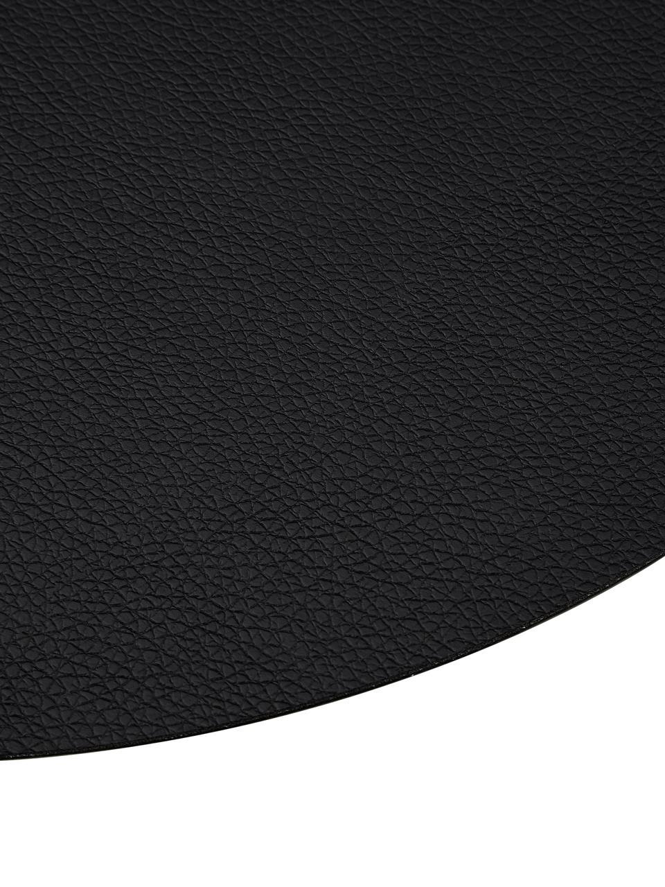 Tovaglietta americana rotonda in similpelle Pik 2 pz, Materiale sintetico (PVC), Nero, Ø 38 cm