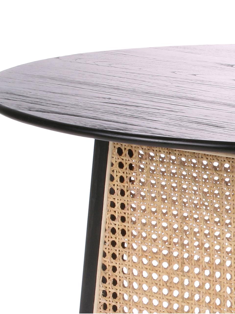 Ronde salontafel Retro met Weens vlechtwerk, Zwart, Ø 65 x H 35 cm