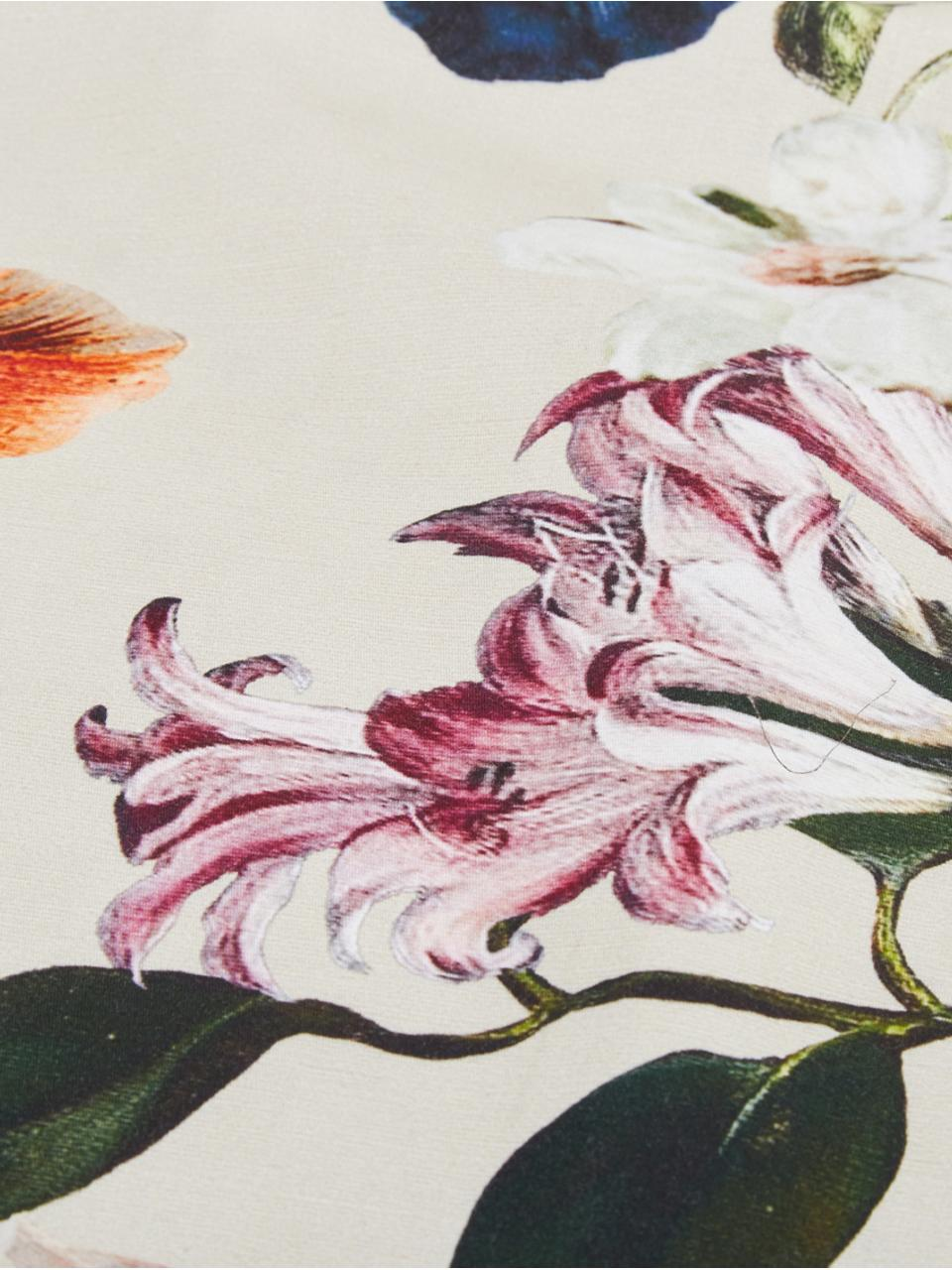Baumwollsatin-Wendebettwäsche Filou mit Blumen-Muster, Webart: Satin Fadendichte 209 TC,, Sandfarben, Mehrfarbig, 200 x 200 cm + 2 Kissen 80 x 80 cm