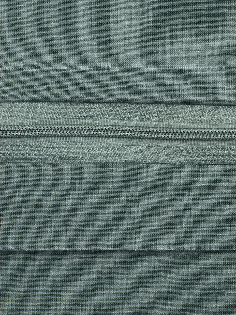 Gewaschene Baumwoll-Bettwäsche Arlene in Dunkelgrün, Webart: Renforcé Fadendichte 144 , Dunkelgrün, 240 x 220 cm + 2 Kissen 80 x 80 cm