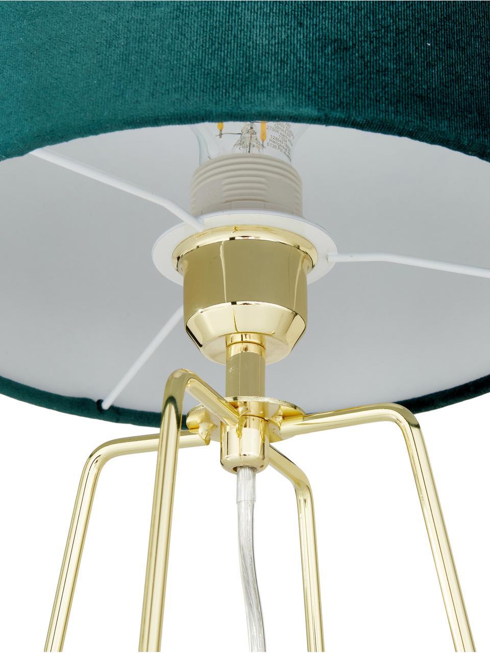 Fluwelen tafellamp Karolina met goudkleurige lampvoet, Lampenkap: fluweel, Lampvoet: vermessingd metaal, Lampenkap: donkergroen.Lampvoet: glanzend messingkleurig.Snoer: transparant, Ø 25 x H 49 cm