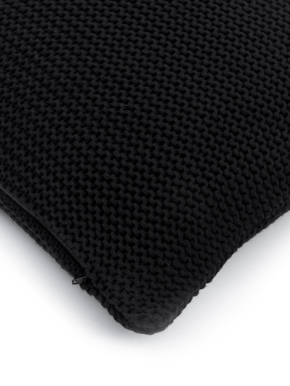 Pletený povlak na polštář Adalyn, Černá