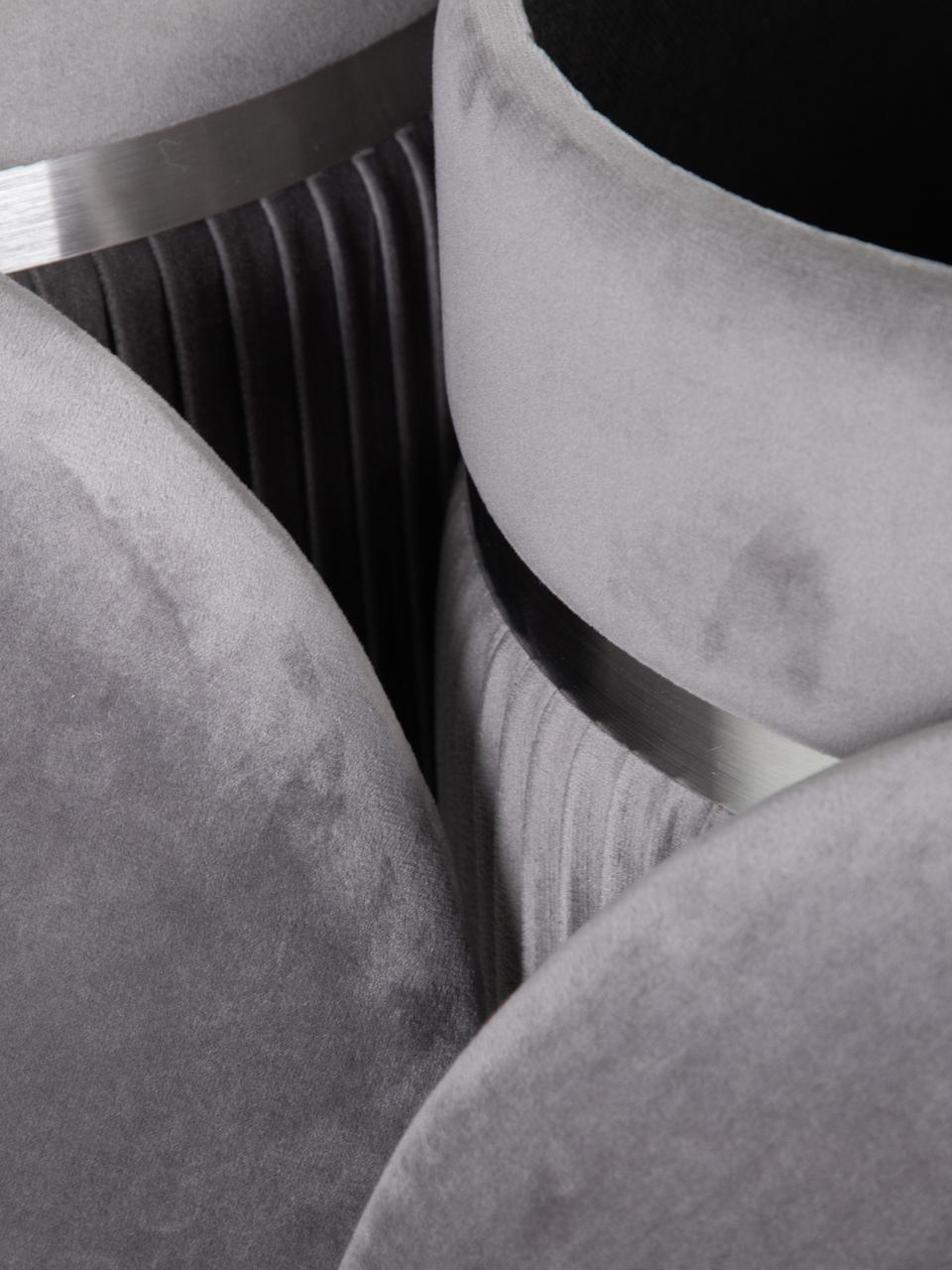Poufs coffre rond en velours Chest, 2 élém., Gris, couleur argentée