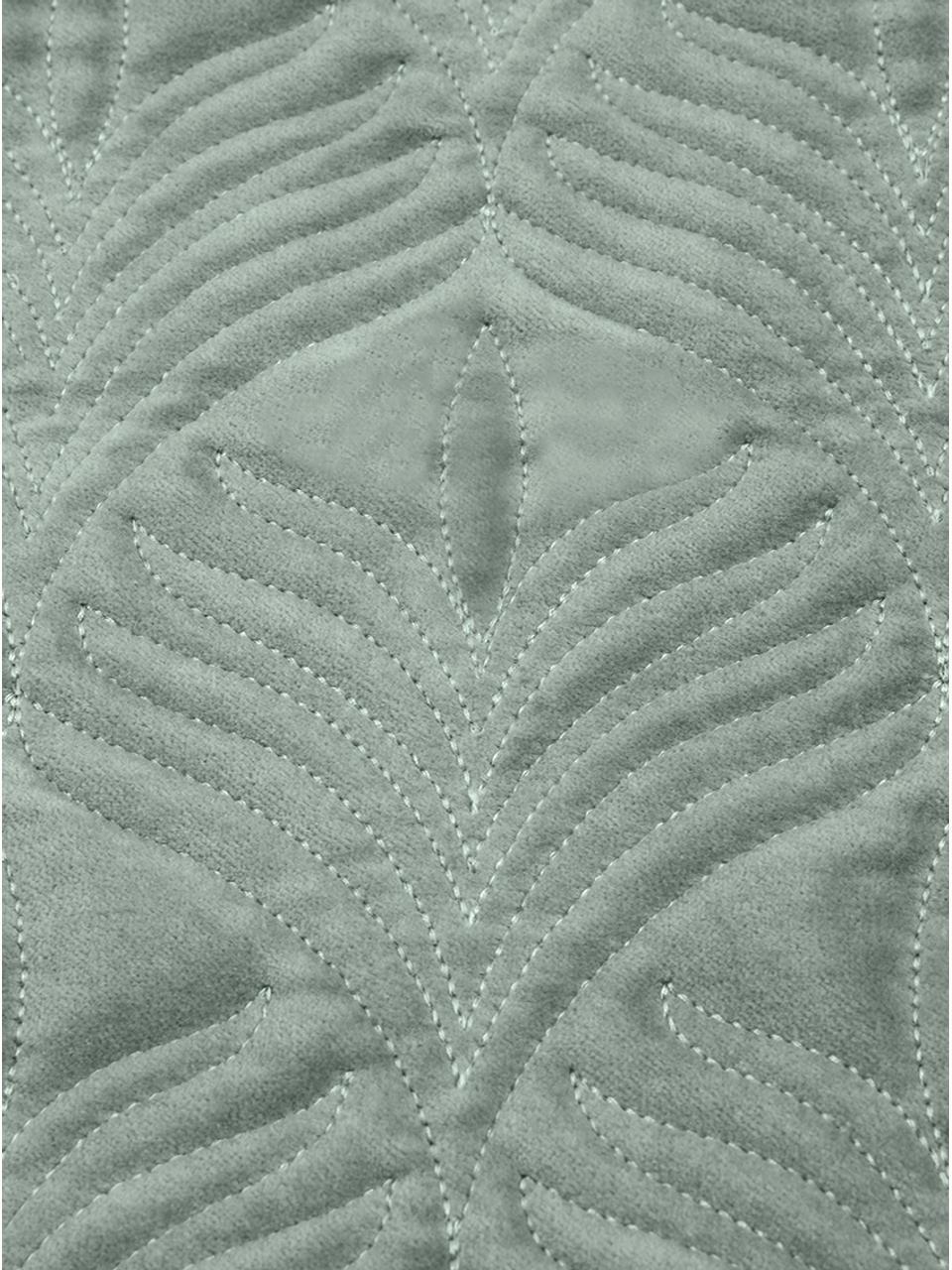 Wattierte Samt-Kissenhülle Celine mit feinem Muster, Salbeigrün, 40 x 40 cm