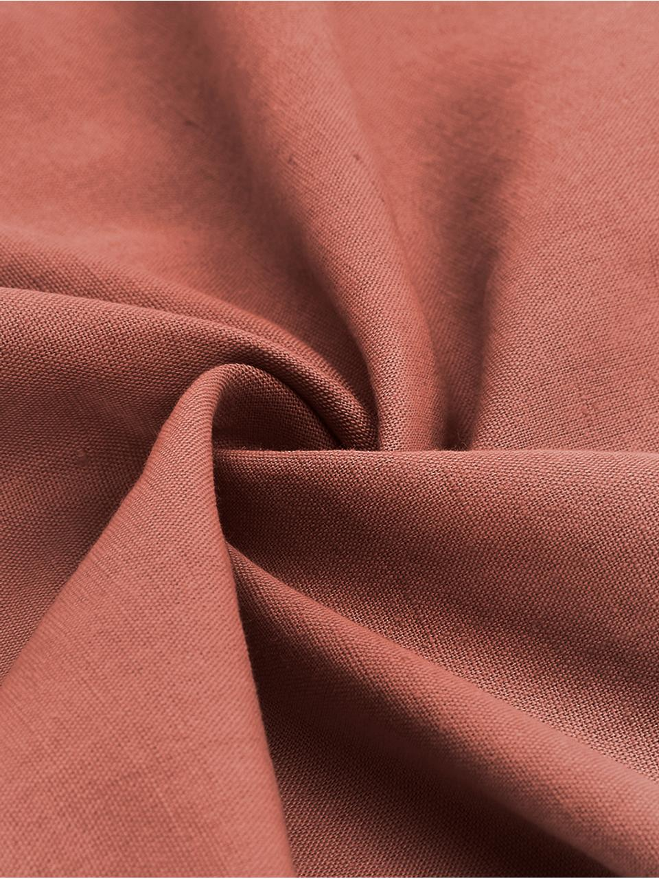 Gewaschene Leinen-Bettwäsche Nature in Terrakotta, Halbleinen (52% Leinen, 48% Baumwolle)  Fadendichte 108 TC, Standard Qualität  Halbleinen hat von Natur aus einen kernigen Griff und einen natürlichen Knitterlook, der durch den Stonewash-Effekt verstärkt wird. Es absorbiert bis zu 35% Luftfeuchtigkeit, trocknet sehr schnell und wirkt in Sommernächten angenehm kühlend. Die hohe Reißfestigkeit macht Halbleinen scheuerfest und strapazierfähig., Terrakotta, 135 x 200 cm + 1 Kissen 80 x 80 cm
