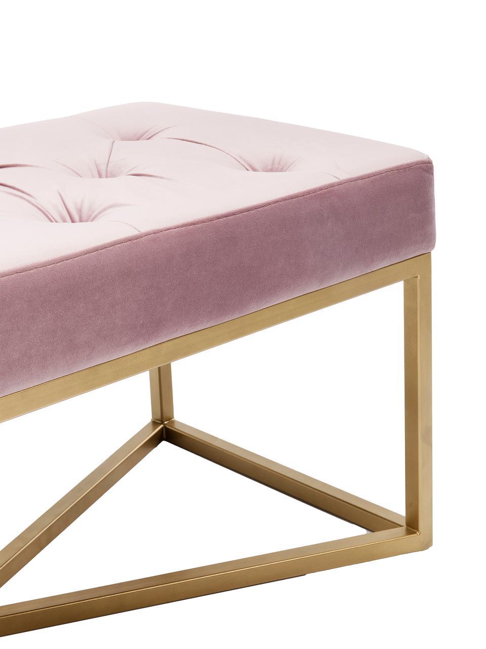 Fluwelen bank Crossover in roze, Bekleding: polyester fluweel, Frame: gelakt metaal, Roze, messingkleurig, B 90 cm