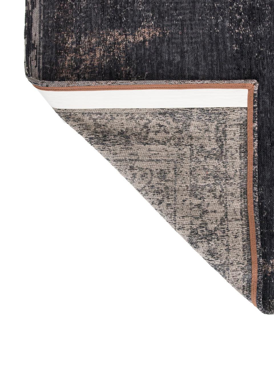 Dywan szenilowy vintage Medaillon, Czarny, beżowy, S 80 x D 150 cm (Rozmiar XS)