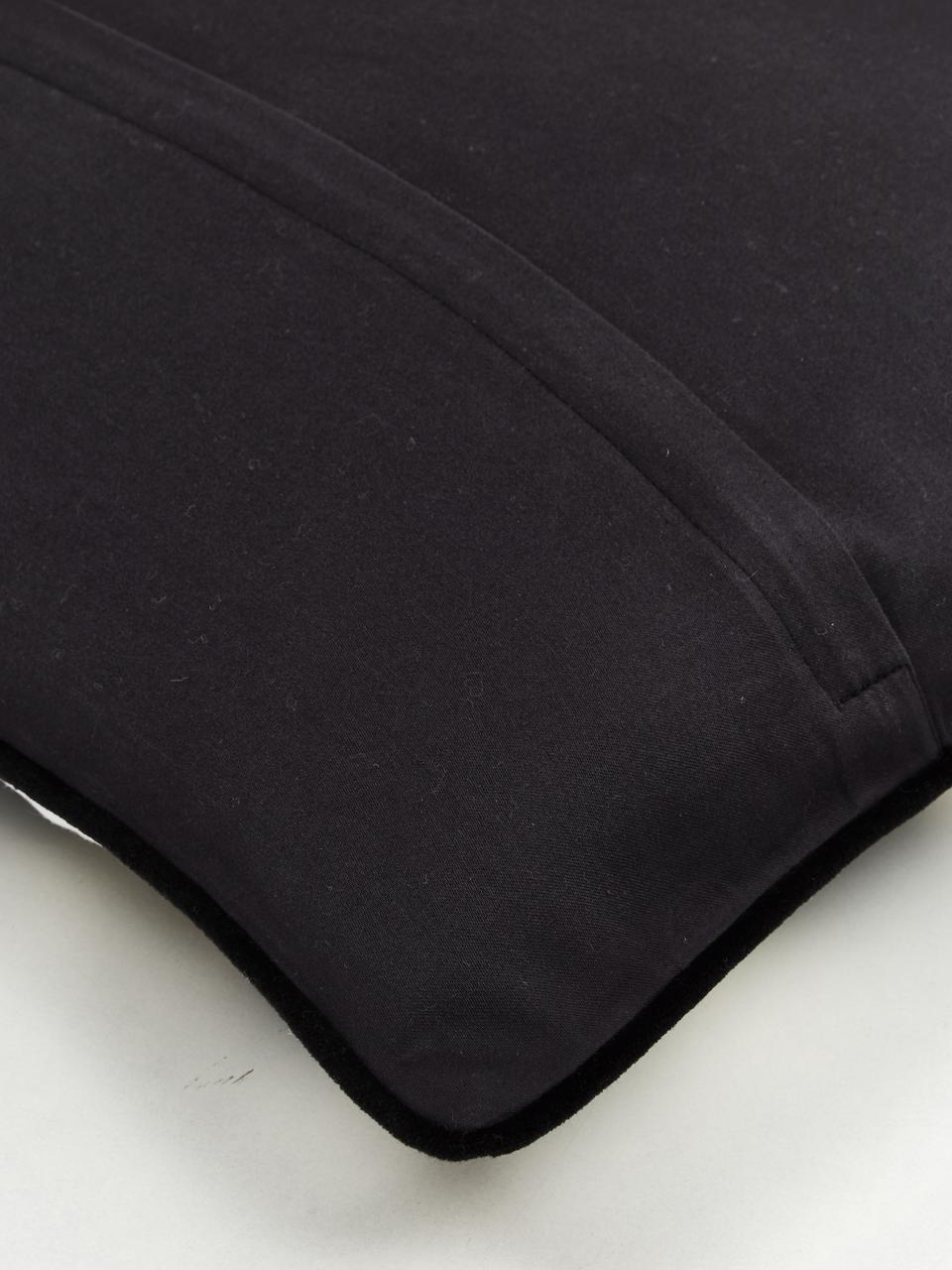Kussenhoes met patroon Geo met zwarte bies, 100% katoen, Crèmewit, taupe, goudkleurig, 45 x 45 cm
