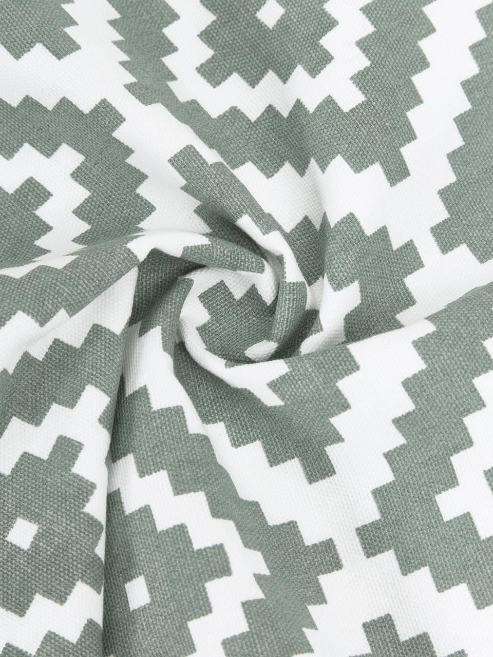 Kissenhülle Miami in Salbeigrün/Weiß, 100% Baumwolle, Grün, 45 x 45 cm