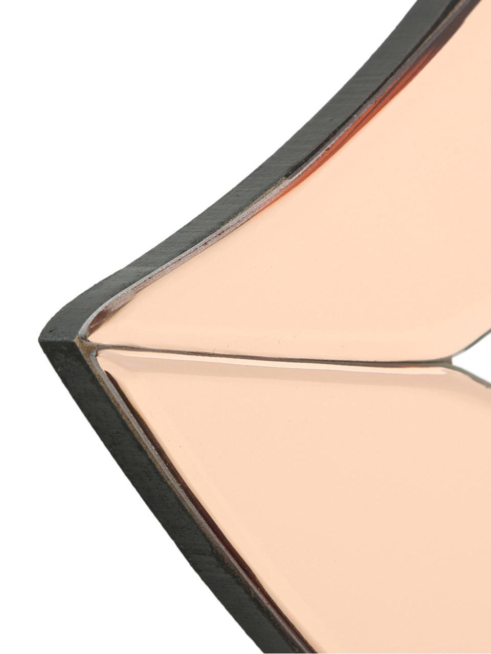 Wandobject Heara van gekleurd spiegelglas, Frame: gecoat metaal, Zwart, roze, 40 x 20 cm