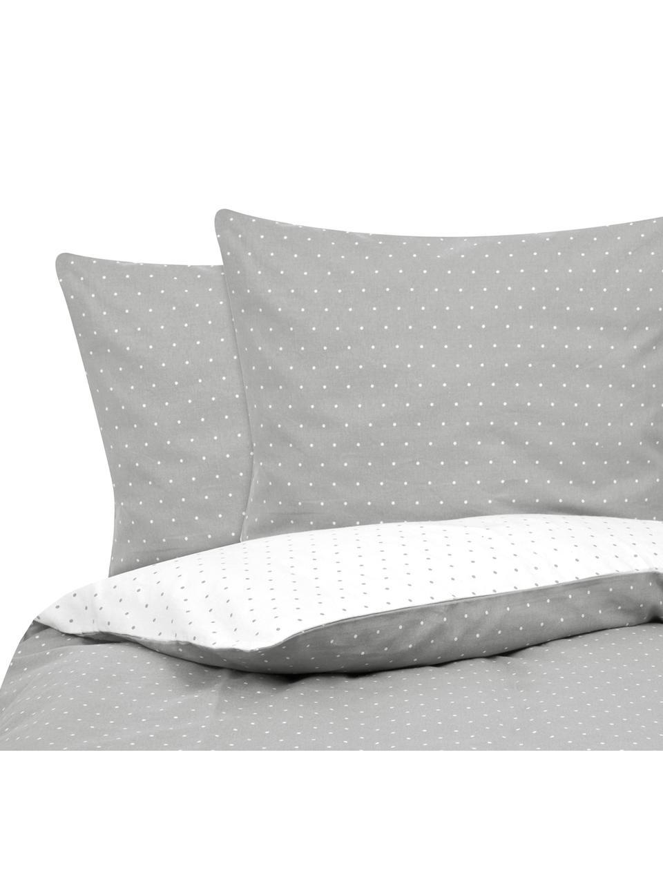 Flanell-Wendebettwäsche Betty, gepunktet, Webart: Flanell Flanell ist ein k, Grau, Weiß, 135 x 200 cm + 1 Kissen 80 x 80 cm