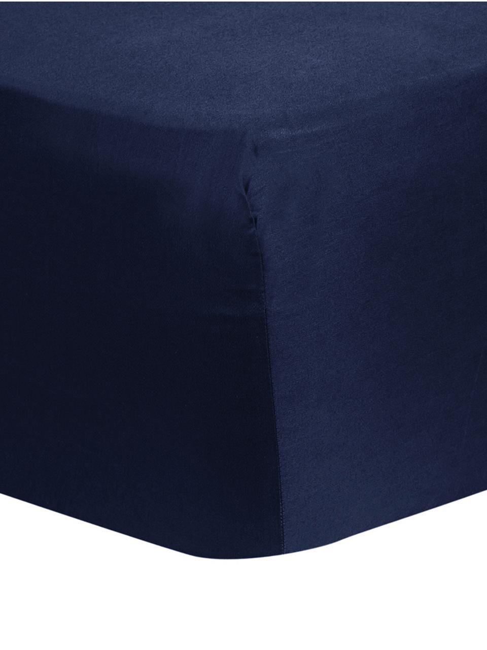 Prześcieradło z gumką z satyny bawełnianej Comfort, Ciemnyniebieski, S 180 x D 200 cm