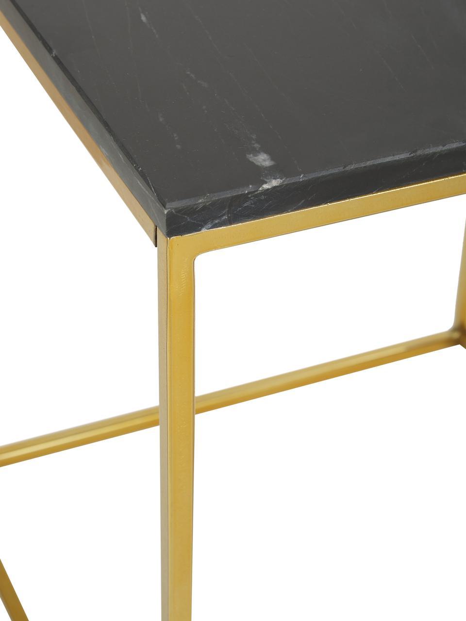 Tavolino con piano in marmo Alys, Piano d'appoggio: pietra naturale di marmo, Struttura: metallo rivestito, Piano: marmo nero Struttura: color oro, lucido, Larg. 50 x Alt. 50 cm