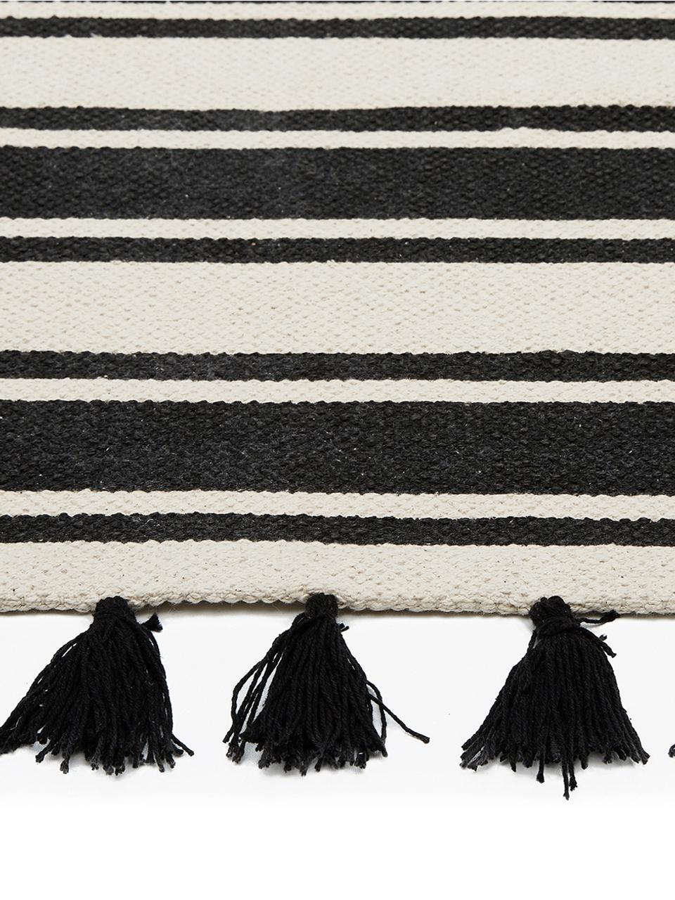 Gestreifter Baumwollteppich Vigga mit Quasten, handgewebt, Schwarz, Beige, B 120 x L 180 cm (Größe S)