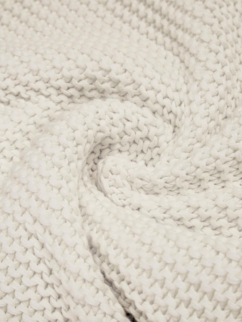 Housse de coussin tricot blanc Adalyn, Blanc naturel