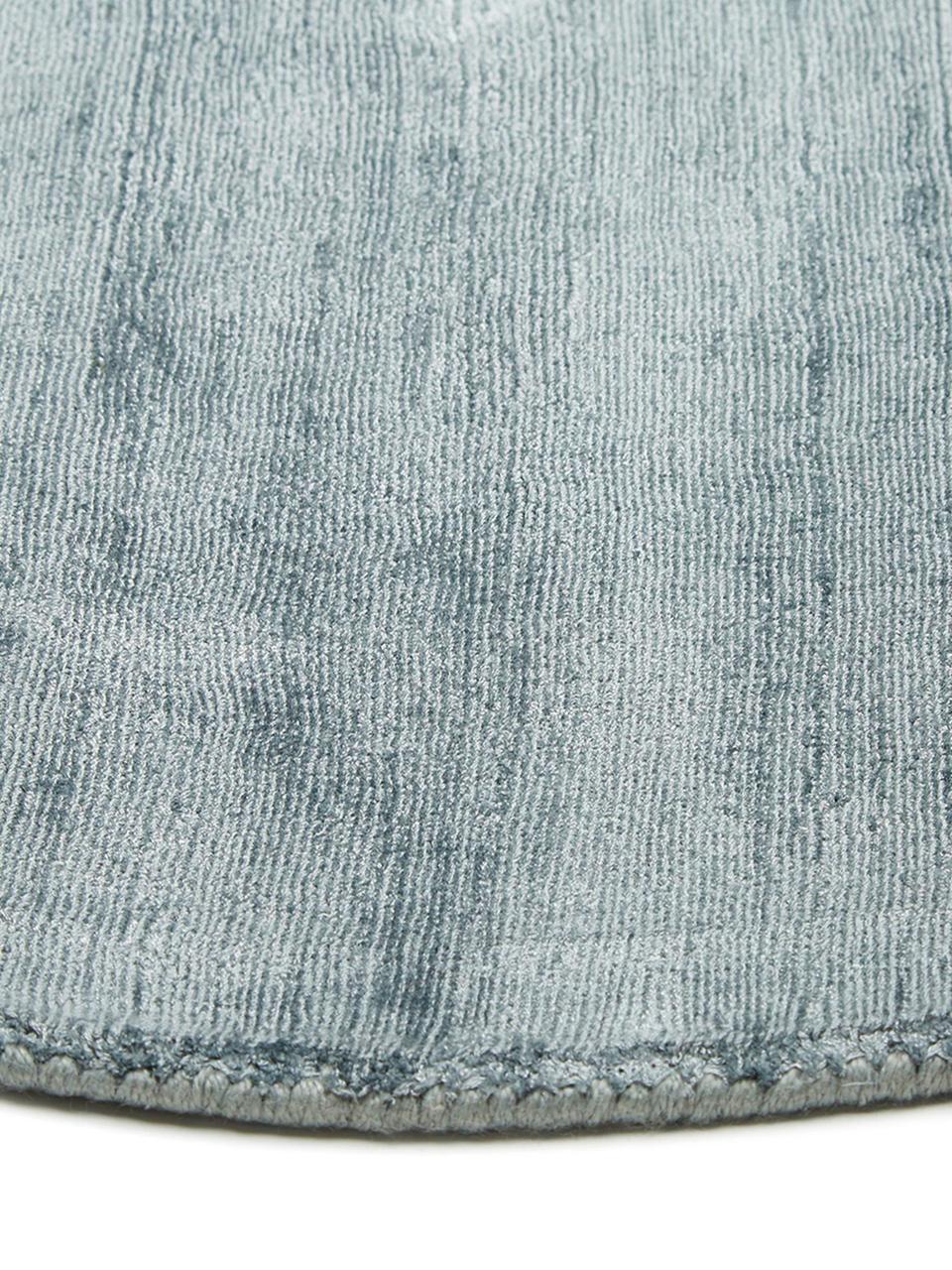 Tappeto rotondo in viscosa blu ghiaccio tessuto a mano Jane, Retro: 100% cotone, Blu ghiaccio, Ø 200 cm (taglia L)