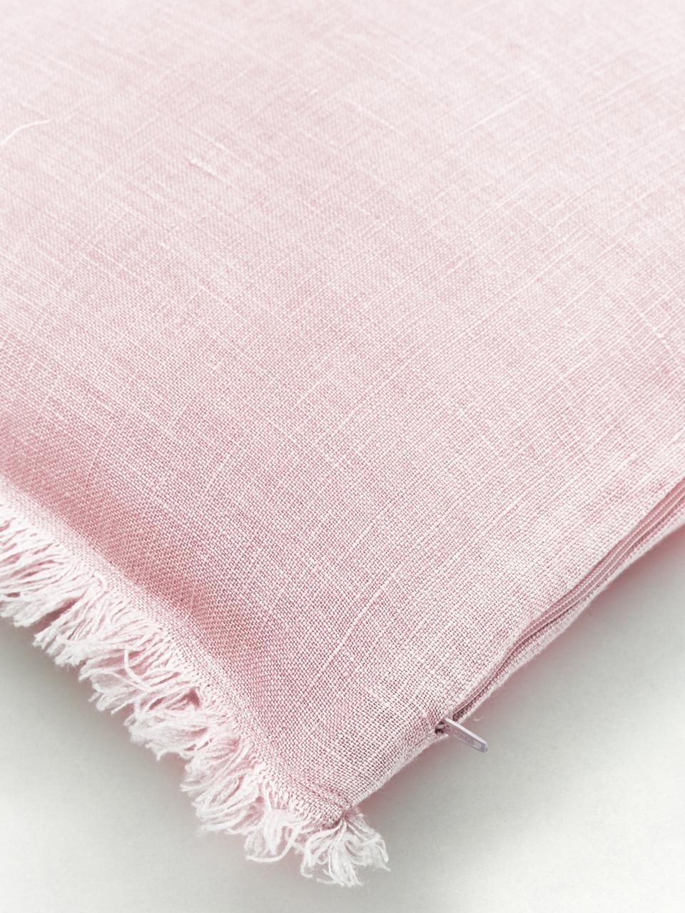 Funda de cojín de lino con flecos Luana, 100%lino, Rosa palo, An 30 x L 50 cm