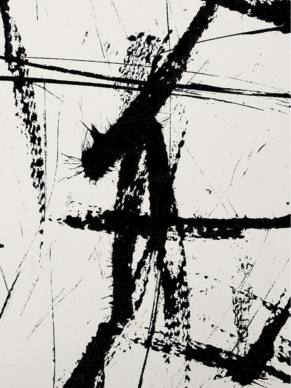 Federa arredo Neven con stampa astratta in bianco/nero, Poliestere, Bianco con macchie nere, Larg. 40 x Lung. 40 cm