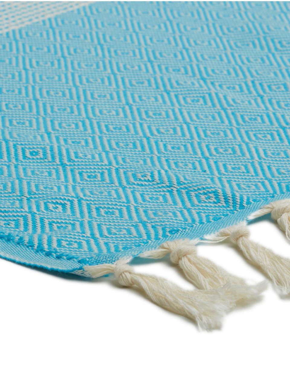 Plaid in cotone Lounge Diamond, 100% cotone, Blu, bianco latteo, Larg. 100 x Lung. 180 cm