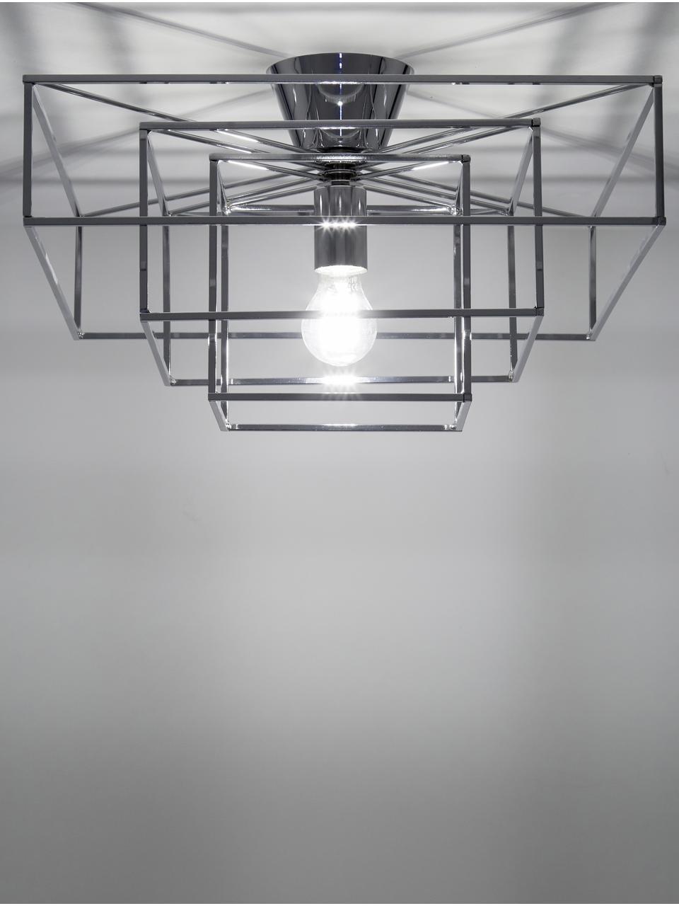 Plafondlamp Cube in chroomkleurig, Verchroomd messing, Chroomkleurig, 46 x 27 cm