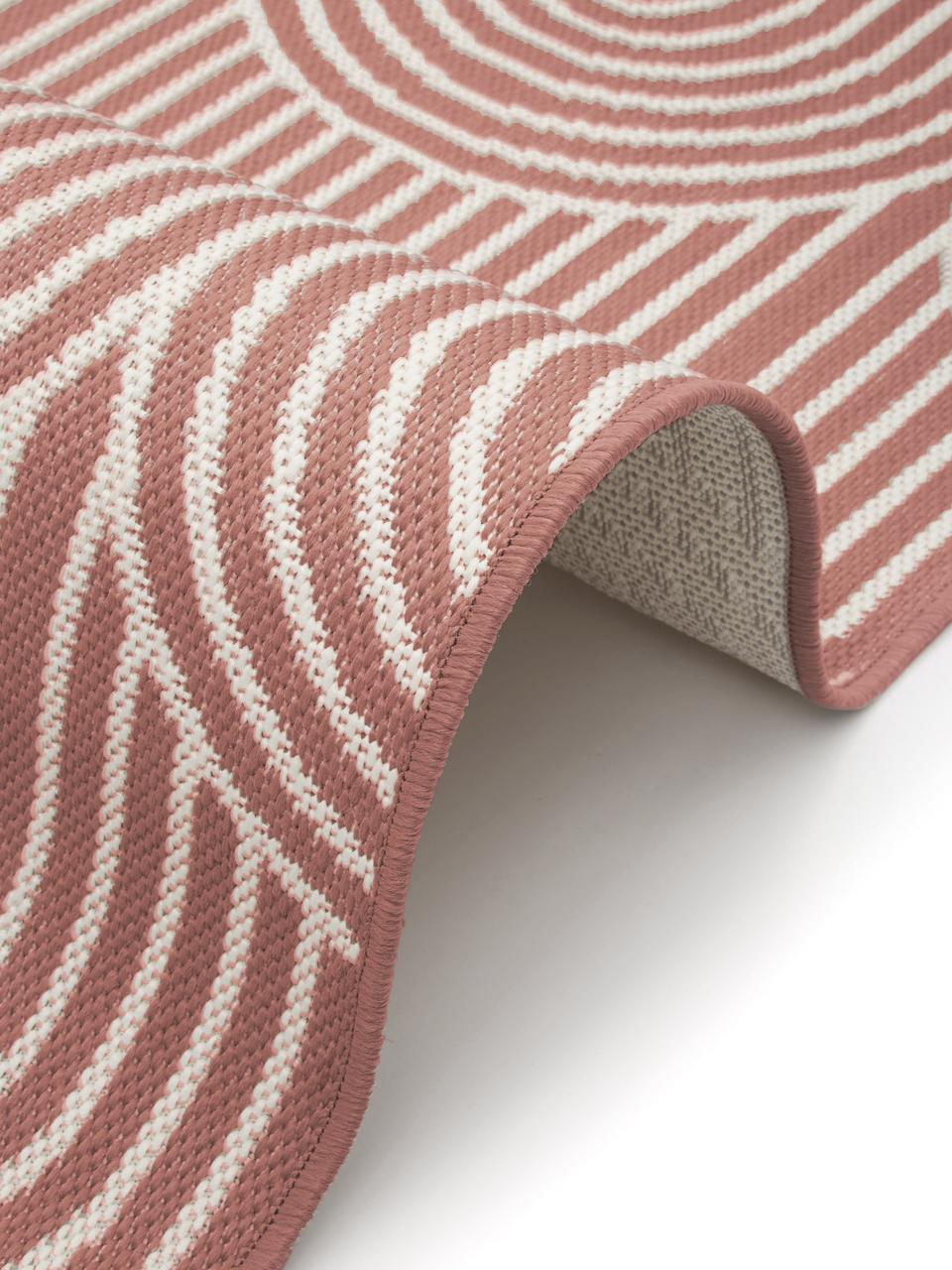 In- & outdoor loper Arches in koraalrood/crèmewit, 86% polypropyleen, 14% polyester, Rood, wit, 80 x 250 cm