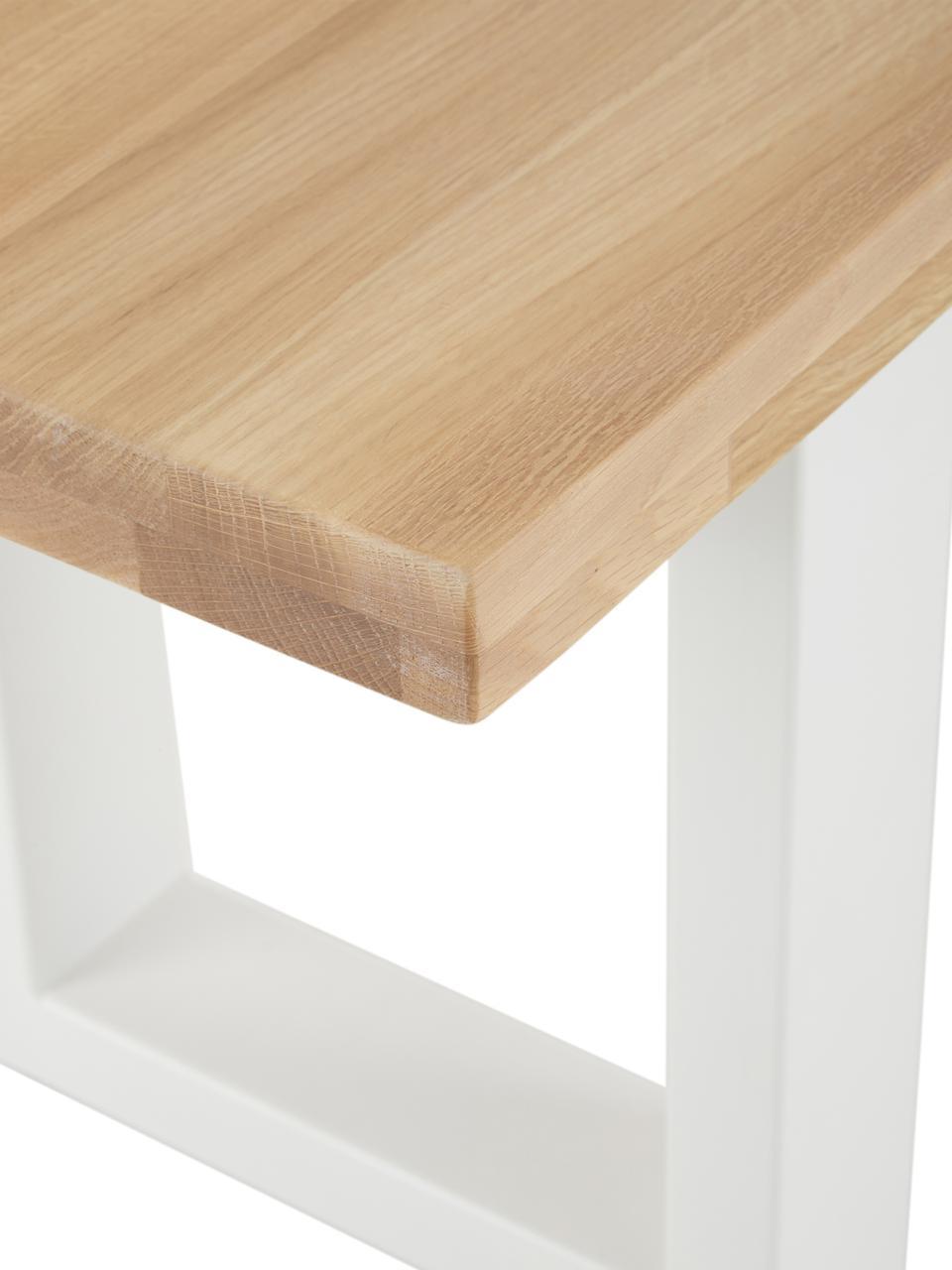 Sitzbank Oliver aus Eichenholz, Sitzfläche: Wildeichenlamellen, massi, Beine: Metall, pulverbeschichtet, Wildeiche, 160 x 45 cm