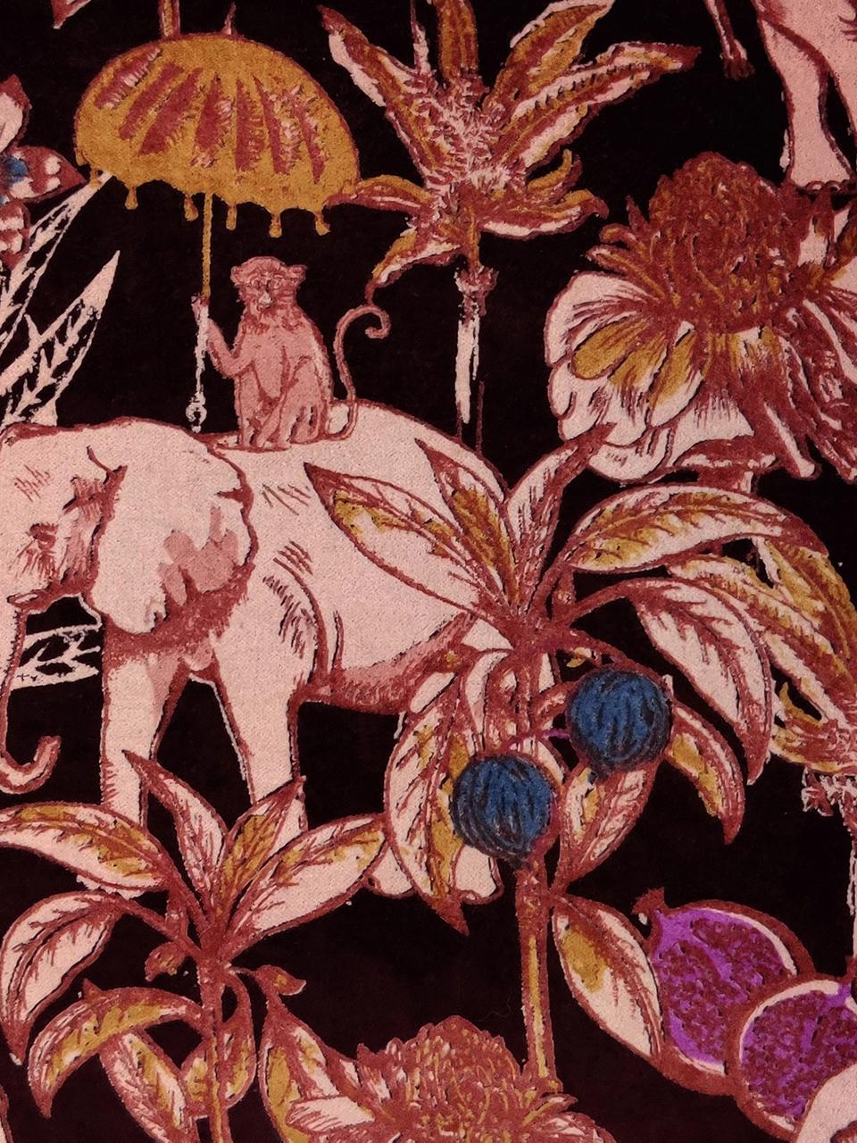 Cuscino con imbottitura Elephant, Rivestimento: 100% cotone, Rosso bordeaux, multicolore, Larg. 45 x Lung. 45 cm