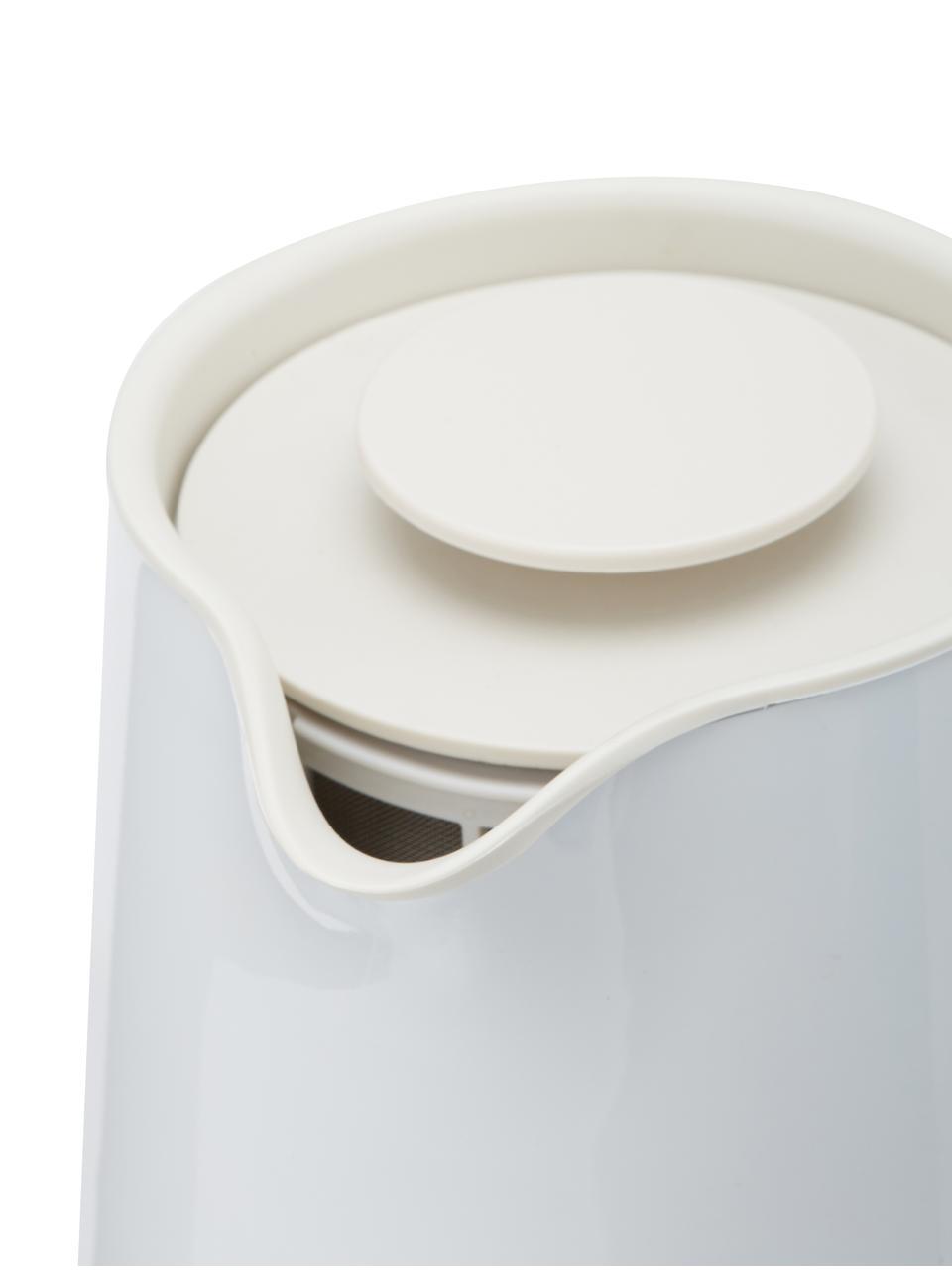 Bollitore elettrico in bianco lucido Emma, Manico: legno di faggio, Bianco, 1,2 L