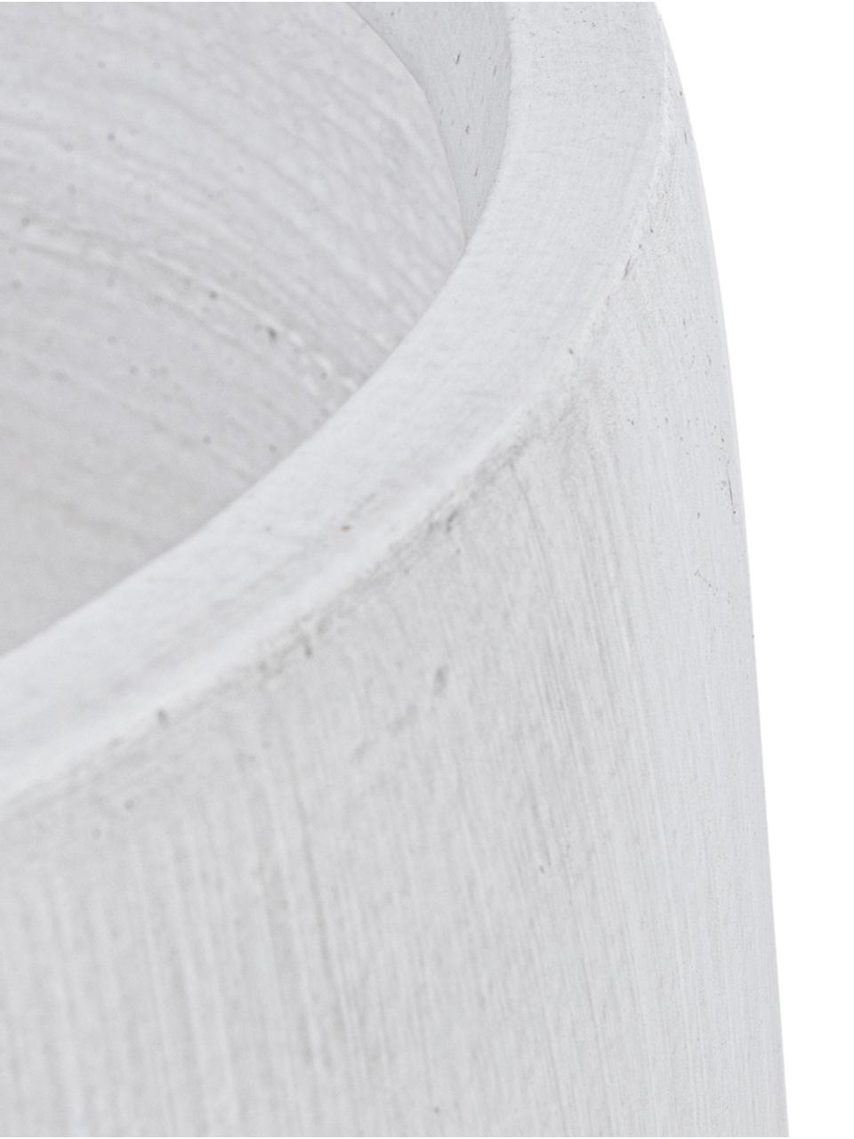 Großes Übertopf-Set Modena aus Kunstfaser, 2-tlg., Übertopf: Glasfaser, Gestell: Buchenholz, Weiß, Buchenholz, Sondergrößen