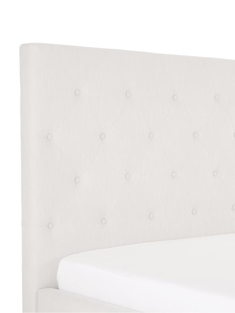 Gestoffeerd bed Serene, Frame: massief grenenhout, Poten: massief eikenhout, Bekleding: polyester (structuurstof), Beige, 180 x 200 cm