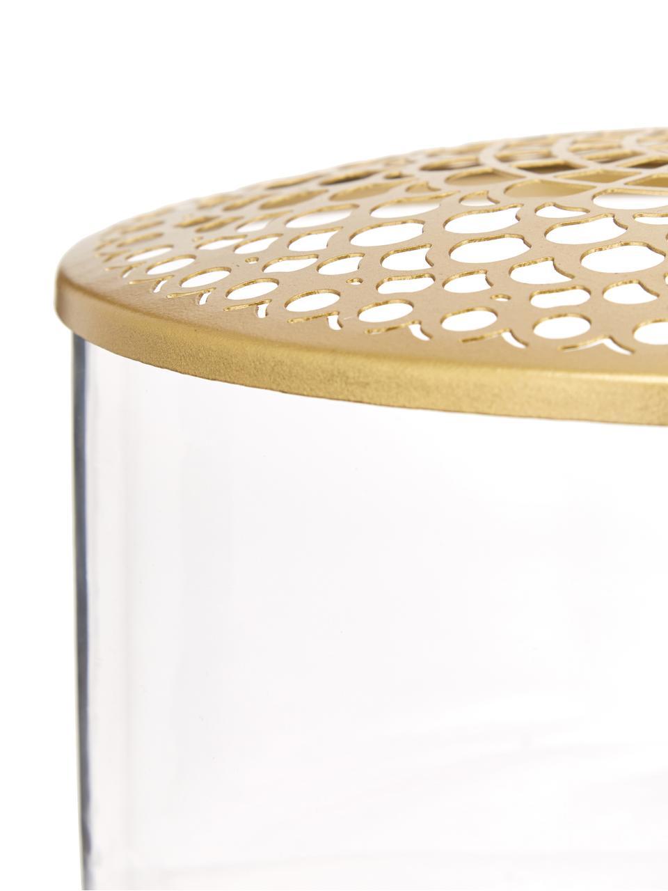 Vaso con coperchio in metallo Kassandra, Vaso: vetro, Coperchio: acciaio inossidabile otto, Vaso: trasparente Coperchio: ottone, Ø 21 x Alt. 10 cm