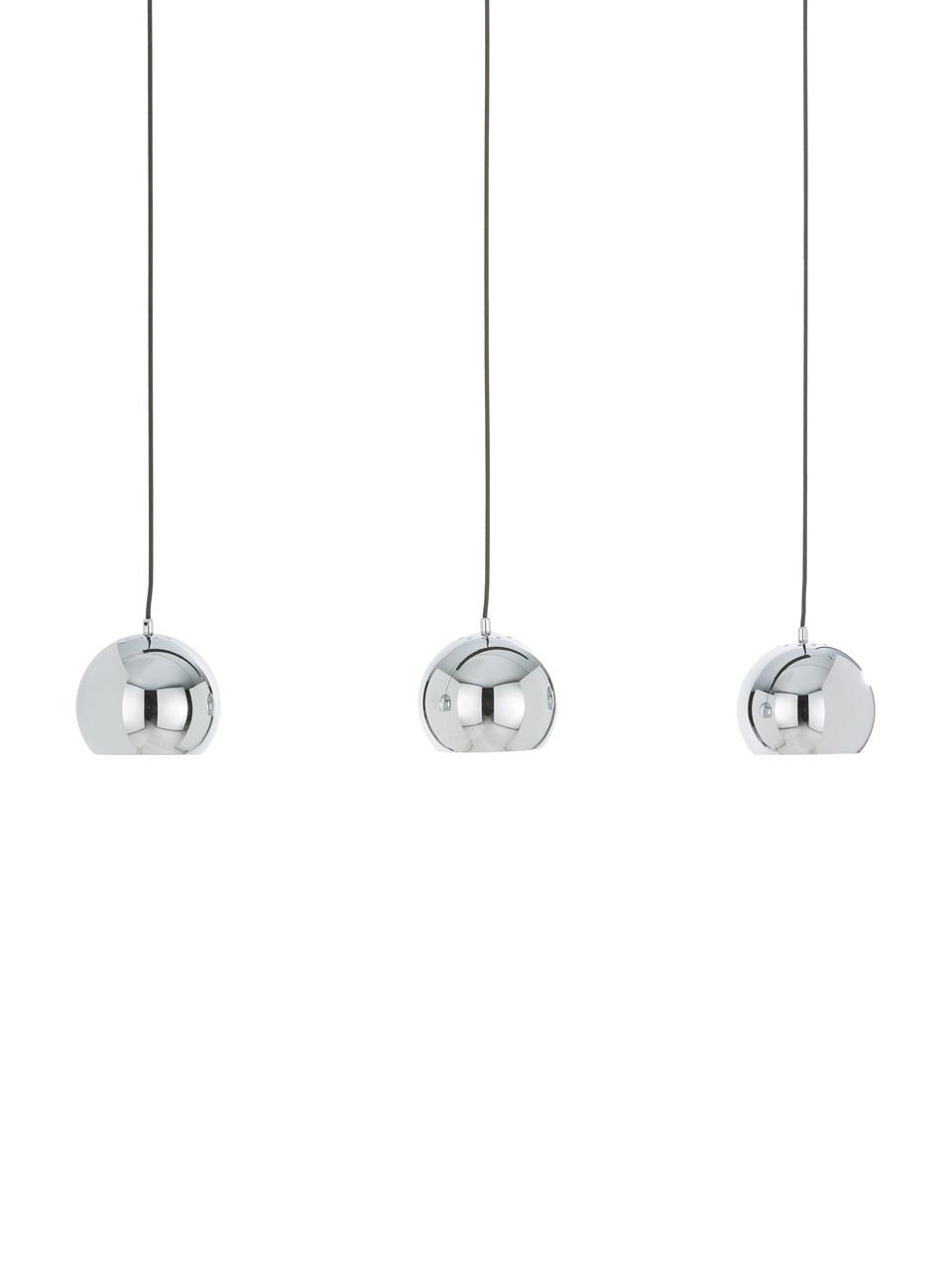 Große Kugel-Pendelleuchte Ball in Silber, Baldachin: Metall, lackiert, Chrom, hochglanz, Schwarz, matt, 100 x 18 cm