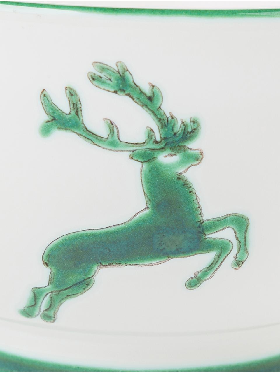 Handbemaltes Schälchen Grüner Hirsch, Keramik, Grün,Weiß, Ø 14 cm