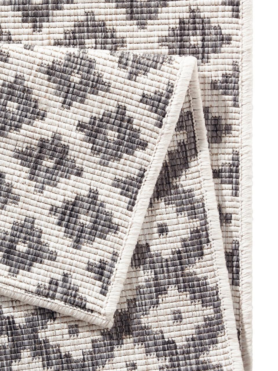 Passatoia reversibile da interno-esterno Nizza, Grigio, crema, Larg. 80 x Lung. 250 cm