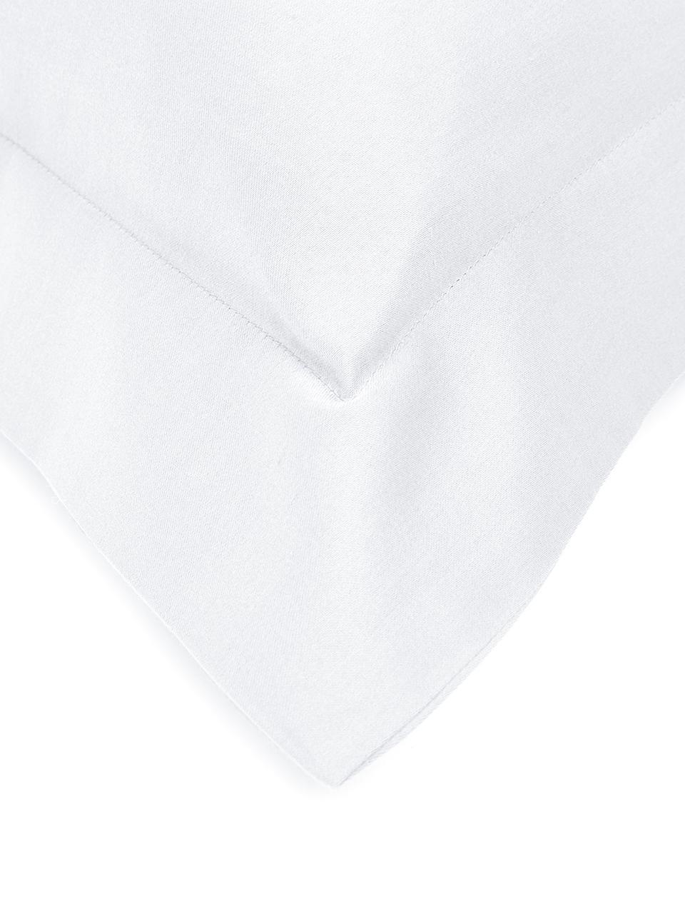 Pościel z satyny bawełnianej z lamówką Premium, Biały, 135 x 200 cm + 1 poduszka 80 x 80 cm