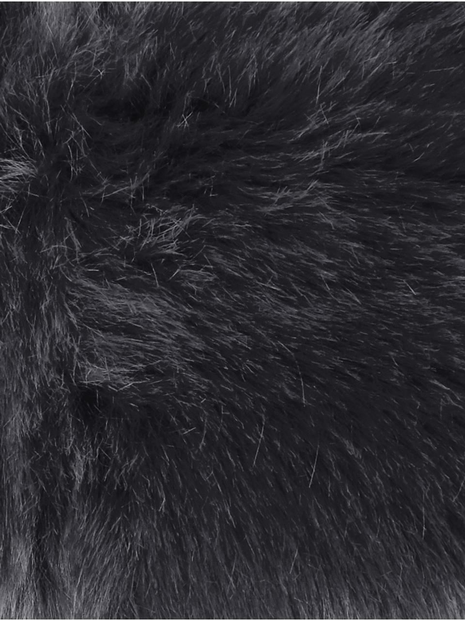 Flauschige Kunstfell-Kissenhülle Mathilde in Dunkelgrau, glatt, Vorderseite: 67% Acryl, 33% Polyester, Rückseite: 100% Polyester, Dunkelgrau, 40 x 40 cm