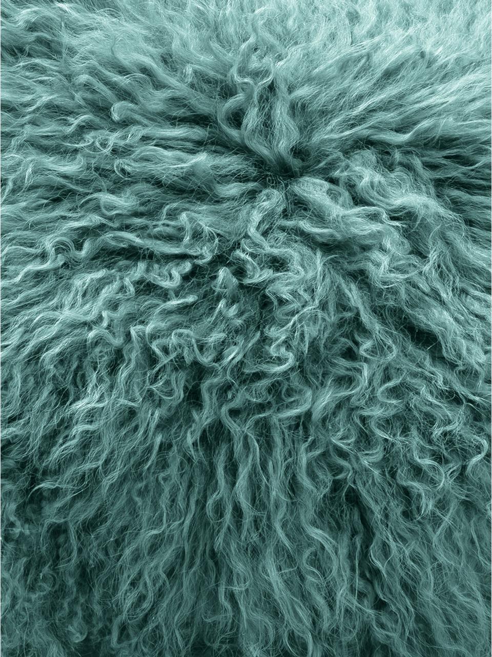 Runde Langhaar-Lammfell Sitzauflage Ella, gelockt, Vorderseite: 100% mongolisches Lammfel, Rückseite: 100% Polyester, Dunkles Türkis, Ø 37 cm