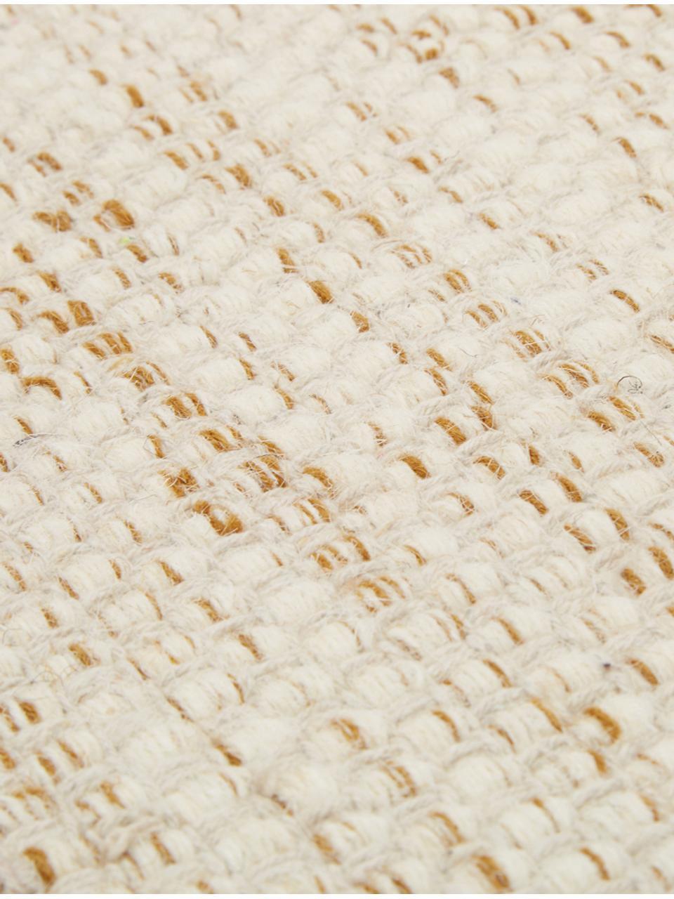 Handgeweven wollen vloerkleed Lule met kleurverloop in beige/geel, 70% wol, 30% katoen, Okergeel, beige, B 200 x L 300 cm (maat L)